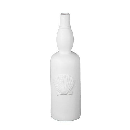 Privilege White 175 Inch Tall Ceramic Sea Shell Vase 84182 Bellacor