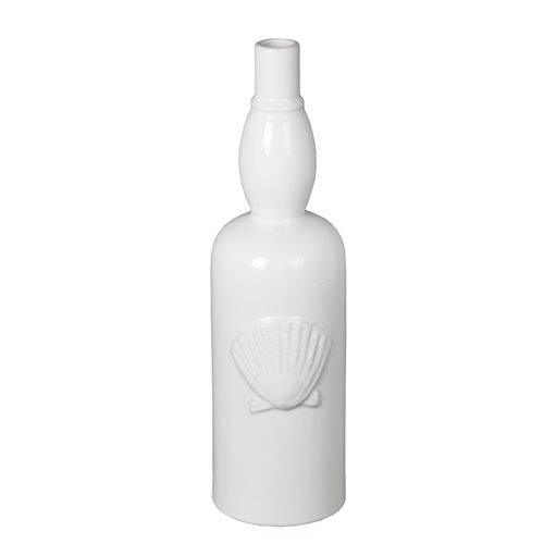 White 17.5-Inch Tall Ceramic Seashell Vase
