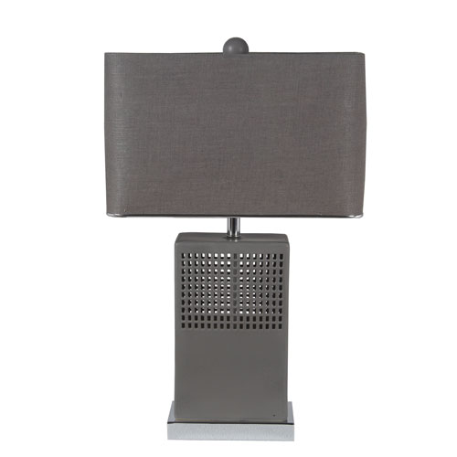 Privilege Matte Grey Ceramic Square Table Lamp