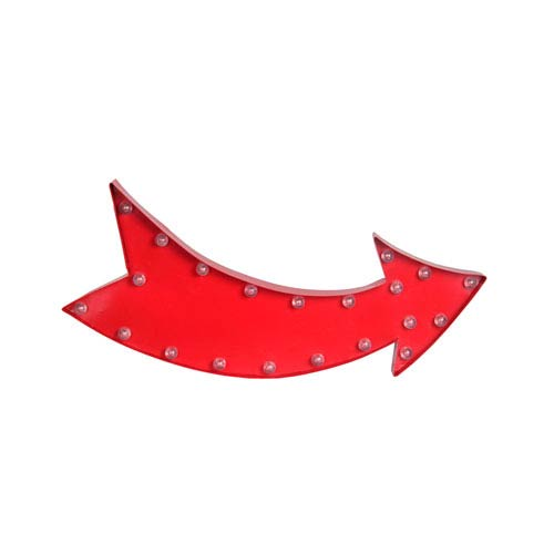 Red Curved Arrow LED Metal Sign Board