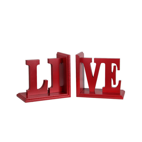 Red Live Wooden Bookends, Set of Two
