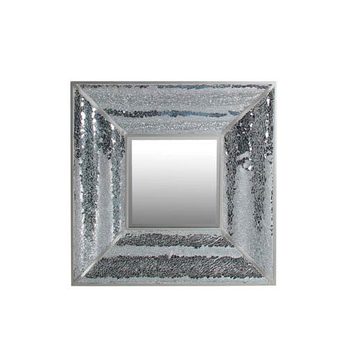 Black and Clear Square Mosaic Mirror