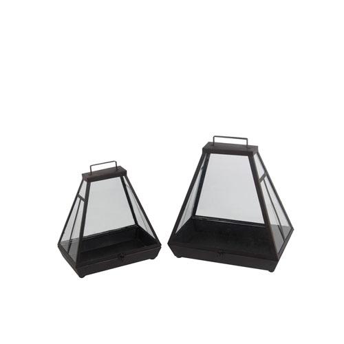 Black Metal Lanterns, Set of Two