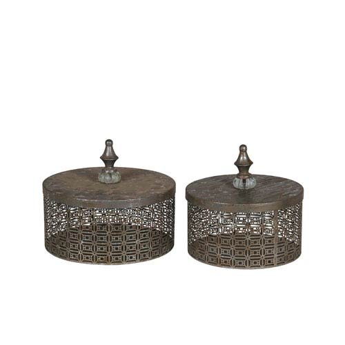 Silver Iron Boxes, Set of Two