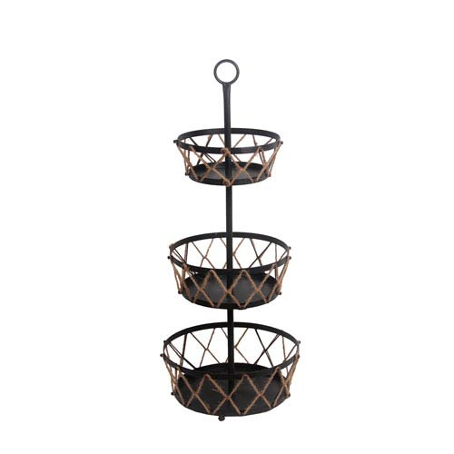 Black and Brown Three-Tier Rack