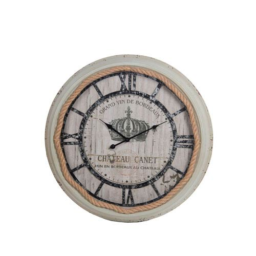 White Washed Metal Wall Clock