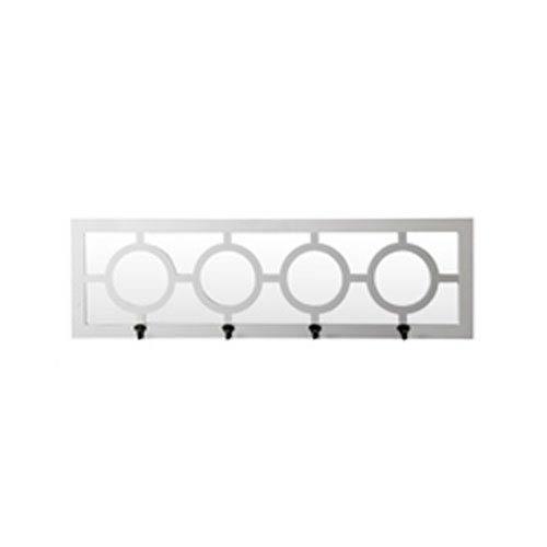 Glossy White Four-Hook Rectangular Wall Mirror