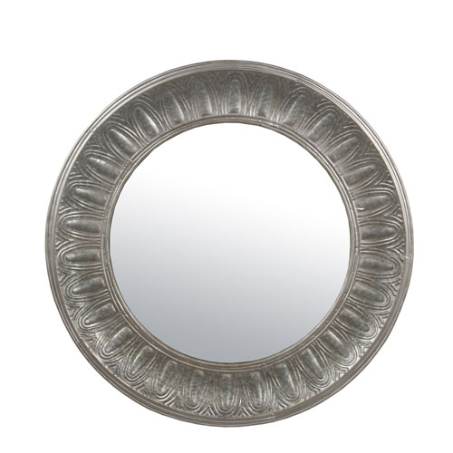 Privilege Wood and Metal Round Mirror