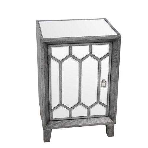 Gray Mirror One Door Accent Stand