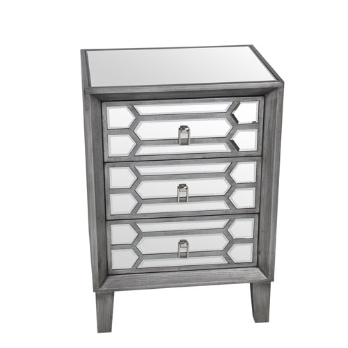 Gray Mirror Three-Drawer Accent Stand