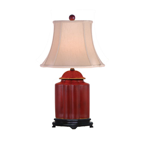 Red One-Light Scalloped Jar Table Lamp
