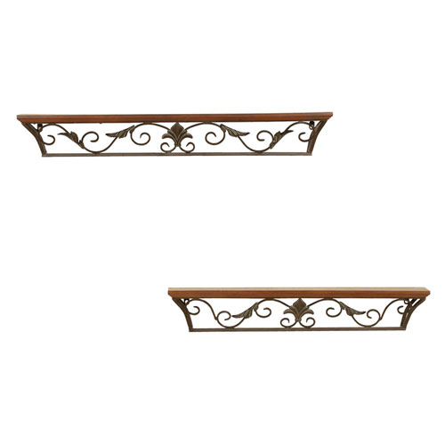 Set of 2 Walnut 30-Inch and 36-Inch Shelves