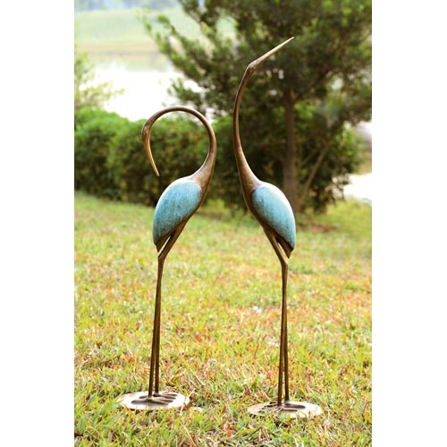 Pair of Stylized Garden Cranes