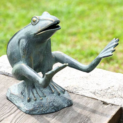 Verde Green Leaping Garden Frog Decorative Object