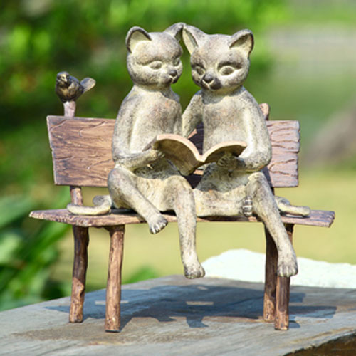 Moss Green Reading Cats On Bench Garden Sculpture