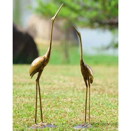 Golden Bronze Crane Pair Decorative Object