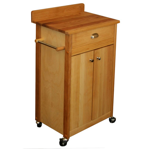 Butcher Block Cart with Backsplash