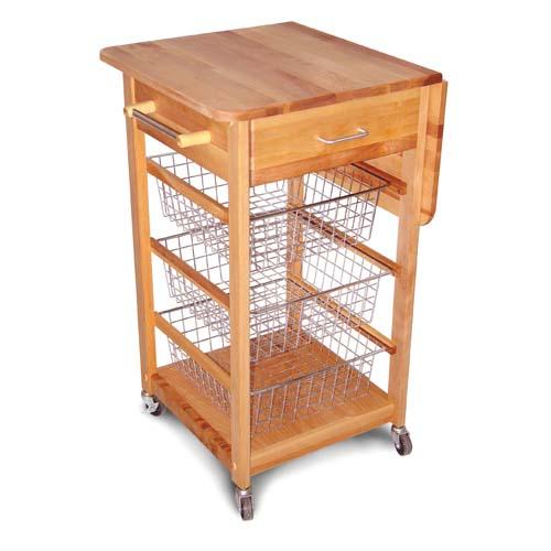 Catskill Craftsmen, Inc. Drop Leaf Cart with Chrome Baskets