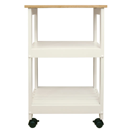 Catskill Craftsmen, Inc. Utility/ Microwave White Butcher Block Cart