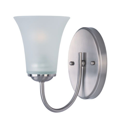 Logan Satin Nickel 5-Inch One-Light Bath Vanity with Frosted Glass Shade