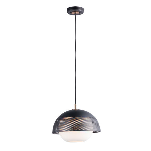 Perf Black and Satin Brass 14-Inch One-Light Adjustable Pendant
