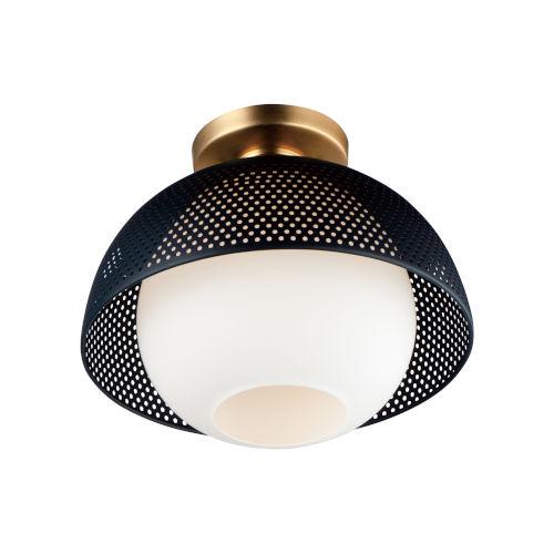 Perf Black and Satin Brass One-Light Semi-Flush Mount