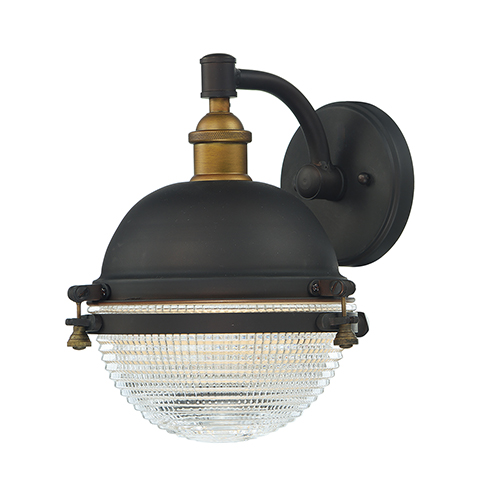 Portside Oil Rubbed Bronze and Antique Brass 10-Inch One-Light Outdoor Wall Mount