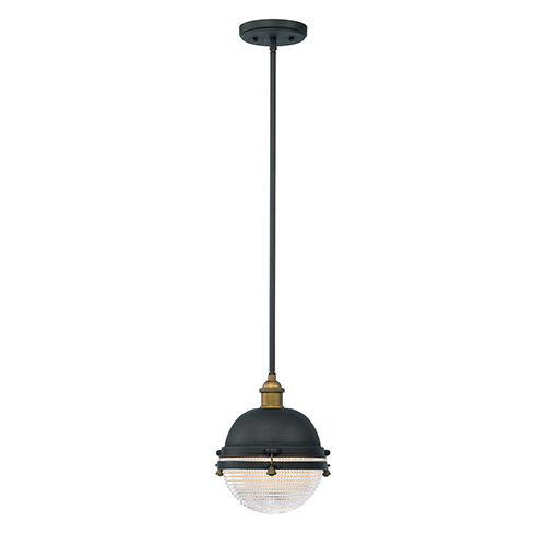 Portside Oil Rubbed Bronze and Antique Brass 10-Inch One-Light Outdoor Hanging Lantern