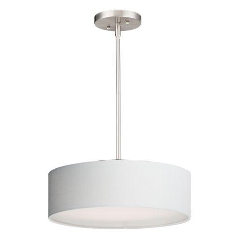 Prime Satin Nickel 16-Inch Three-Light LED Adjustable Pendant
