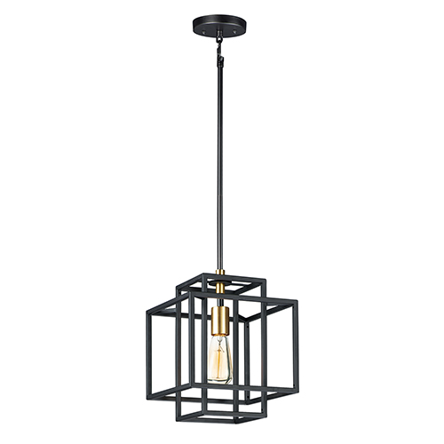 Liner Black and Satin Brass One-Light Adjustable Mini Pendant