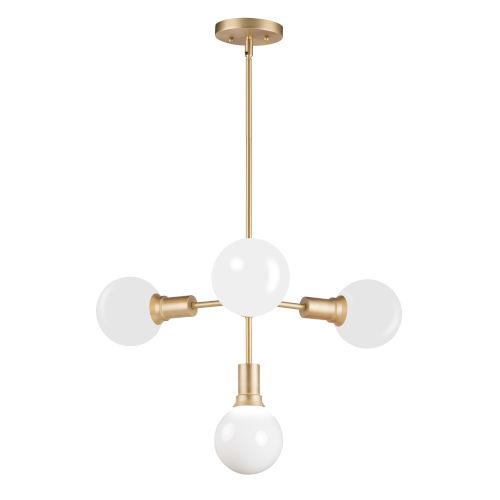 Molecule Satin Brass 24-Inch Four-Light Adjustable Pendant