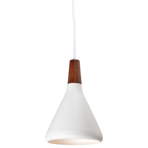 Nordic Walnut and White LED Single Mini Pendant