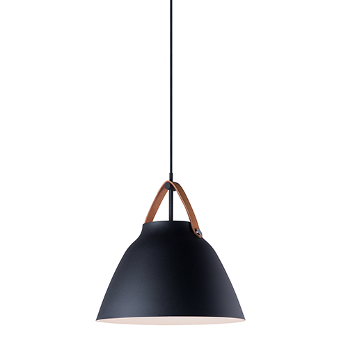 Nordic Tan Leather and Black One-Light 15-Inch Pendant