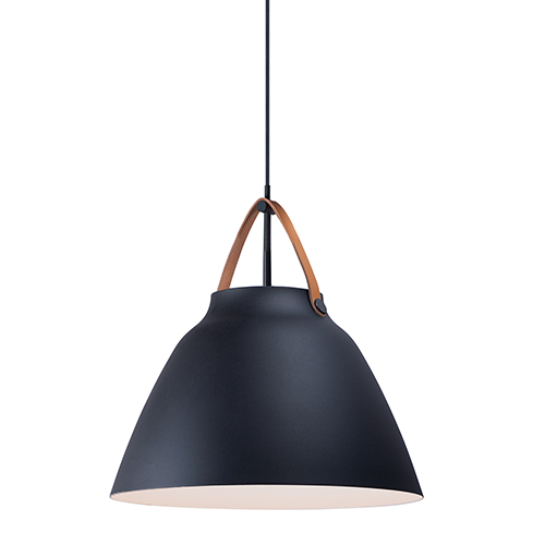Nordic Tan Leather and Black One-Light Pendant