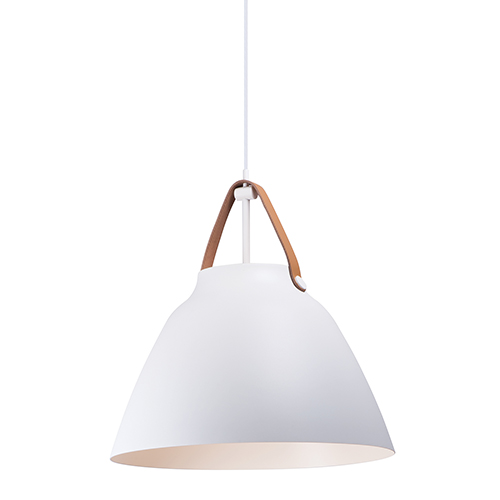 Nordic Tan Leather and White One-Light Pendant