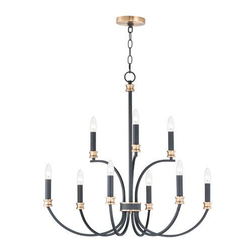 Charlton Black and Antique Brass Nine-Light LED Chandelier