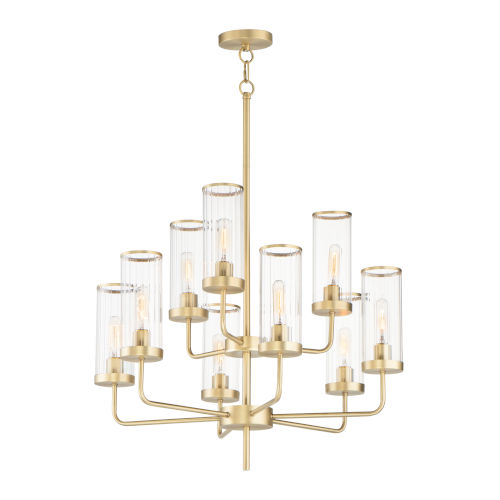 Crosby Satin Brass Nine-Light Chandelier