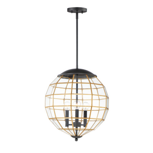Heirloom Black and Burnished Brass Three-Light Pendant