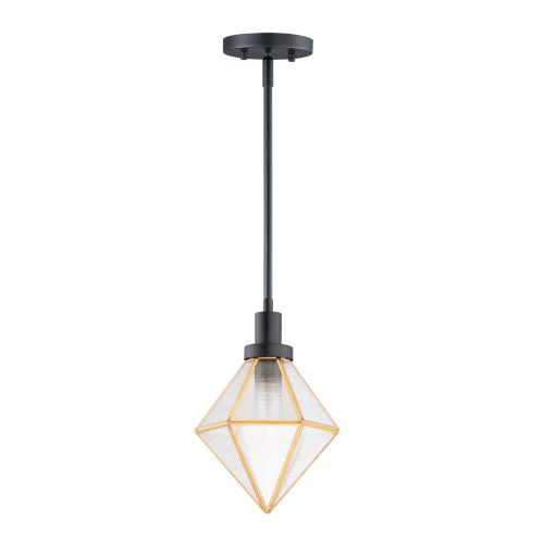 Adorn Black and Burnished Brass One-Light Mini Pendant