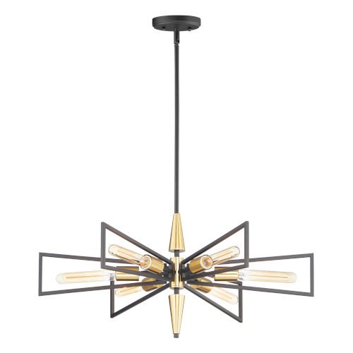 Wings Black and Satin Brass Six-Light Chandelier