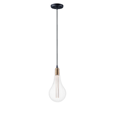 Early Electric Black and Antique Brass Five-Inch 3.5W LED Mini Pendant