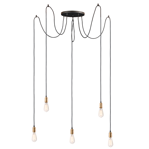 Early Electric Black and Antique Brass 13-Inch LED Pendant