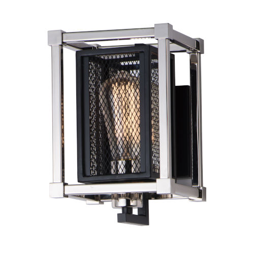 Refine Black and Polished Nickel Six-Inch One-Light Wall Sconce