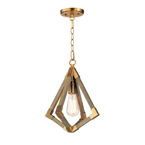 Vector Weathered Oak and Antique Brass One-Light Pendant