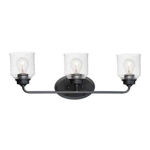 Acadia Black Three-Light Vanity Light
