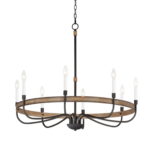 Franklin Driftwood and Black Eight-Light Chandelier