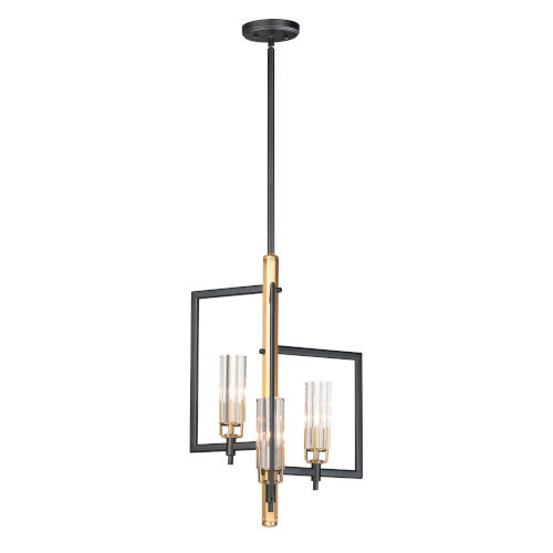 Flambeau Black and Antique Brass Three-Light Pendant