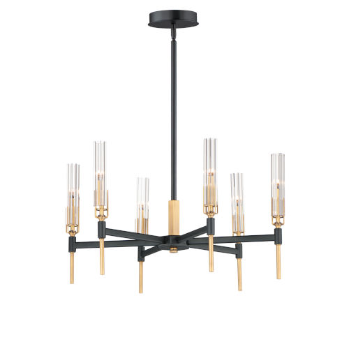 Flambeau Black and Antique Brass 6-Light LED Pendant