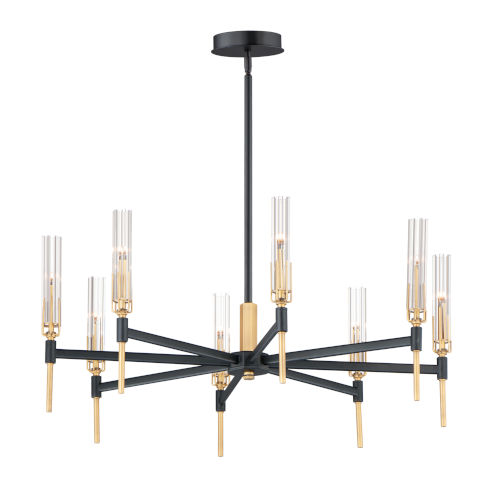Flambeau Black and Antique Brass Eight-Light LED Pendant