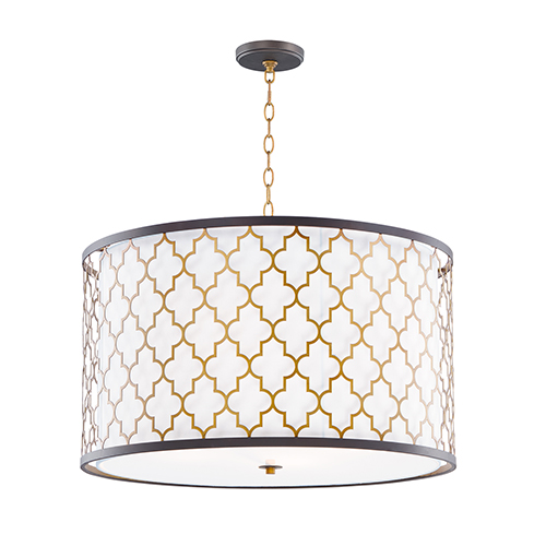 Crest Oil Rubbed Bronze and Antique Brass 24-Inch Four-Light Pendant